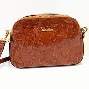 Valentina brown floral embossed crossbody bag